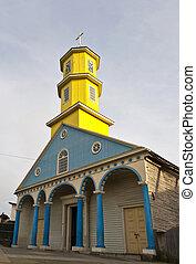 famoso, madera, iglesia, de, chonchi, en, chiloe, isla, chile, (unesco, mundo, heritage).