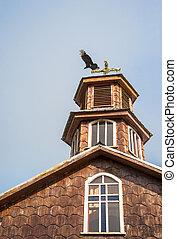 famoso, madera, iglesia, en, chiloe, isla, es, un, distintivo, ejemplos, de, chilote, arquitectura, (unesco, mundo, heritage), chile