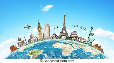 famoso, mondo, illustrazione, monumento