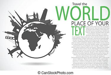 famoso, monumentos, alrededor, mundo