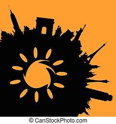 famoso, monumentos, ilustración, con, sol