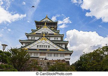 famoso, osaka, castillo, osaka, japón, lugar
