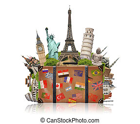 famoso, pieno, valigia, illustrazione, monumento