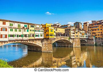 famoso, ponte vecchio, con, río arno, en, ocaso, en,...