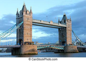 famoso, puente de torre, london.