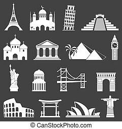 famoso, señales internacionales, iconos