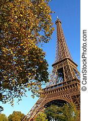 famoso, torre eiffel, de, parís