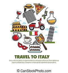 famoso, turismo, italia, señales, atracciones, poster., viaje