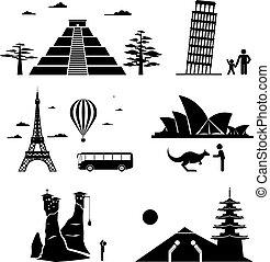 famoso, viaggiare, monumenti, icone