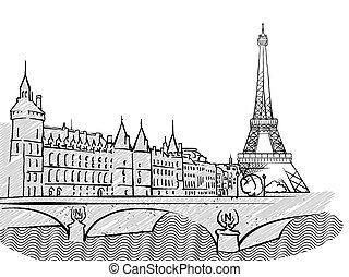 famoso, viaje, parís, bosquejo, francia