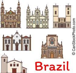 famoso, viaje, señal, de, brasil, línea fina, icono