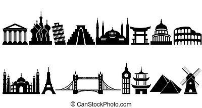 famoso, viaje, señales, mundo, monumentos