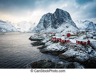 famosos, atração turística, hamnoy, aldeia pescando, ligado,...
