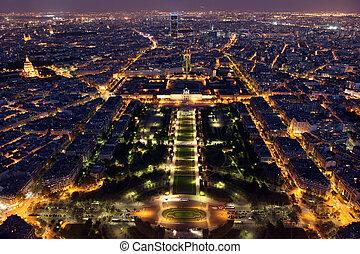 famosos, e, bonito, noturna, vista, para, paris, de, torre...