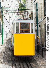 famosos, histórico, ferrovia funicular, em, lisbon.