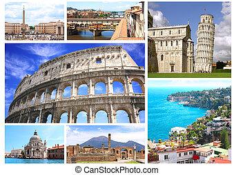 famosos, lugares, de, itália