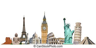 famosos, monumentos, de, mundo