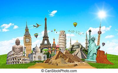 famosos, mundo, ilustração, monumento