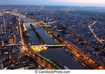 famosos, noturna, vista, de, paris, com, a, rio sena, de,...