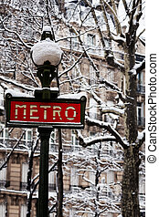 famosos, parisian, sinal metro, após, nevada, frança