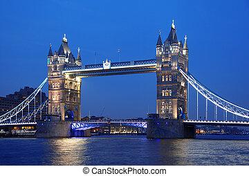 famosos, ponte torre, em, londres, inglaterra