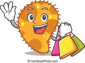 famosos, ricos, segurando, personagem, bolsas para compras, caricatura, pseudomonas