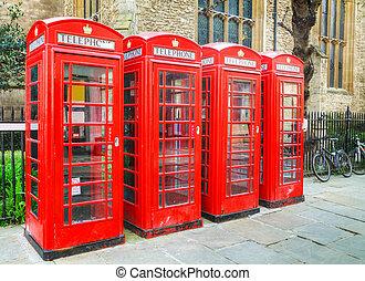 famosos, telefone vermelho, bancas, em, londres