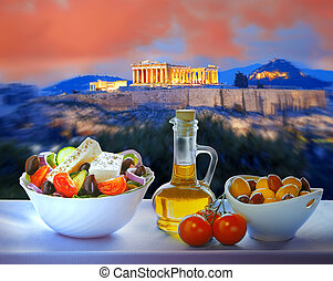 Acropolis with Greek salad in Athens, Greece - Famous ...