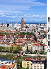 Famous aerial view of Lyon city, France