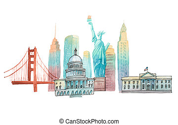 Famous American landmarks travel and tourism watercolor...