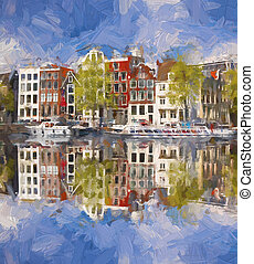 Amsterdam city in Holland, artwork in painting style
