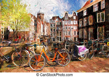 Famous Amsterdam city in Holland, artwork in painting style
