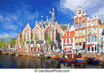 Amsterdam city in Holland, artwork in painting style - ...