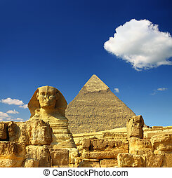 egypt Cheops pyramid and sphinx - famous ancient egypt...