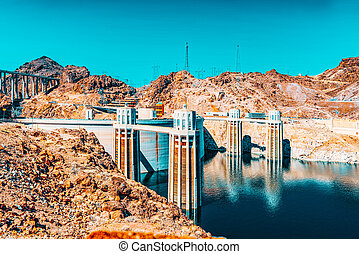 Famous and amazing Hoover Dam at Lake Mead, Nevada and ...