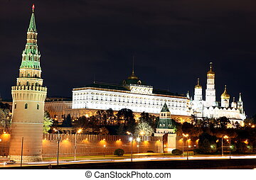 Famous and Beautiful Night View of Moskva river and Moscow Kreml