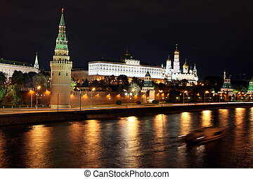 Famous and Beautiful Night View of Moskva river and Moscow Kremlin Palace and Churches in the summer, Russia