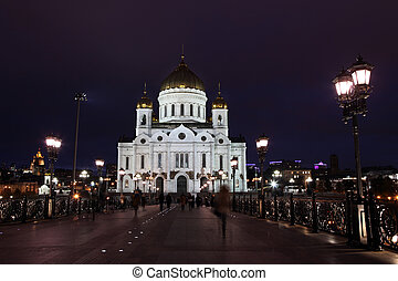 Famous and Beautiful Night View Cathedral of Jesus Christ the Saviour with Patriarshiy Bridge in the summer
