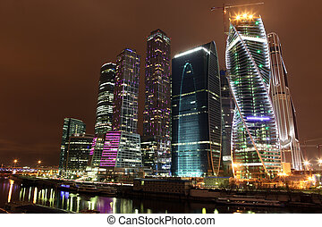 Famous and Beautiful night view Skyscrapers City...