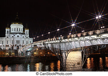 Famous and Beautiful Night View Cathedral of Jesus Christ the Saviour and Moskva river with Patriarshiy Bridge in the summer