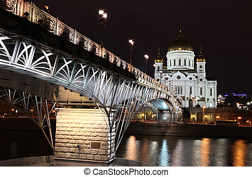 Famous and Beautiful Night View Cathedral of Jesus Christ the Saviour and Moskva river with Patriarshiy Bridge (right side) in the summer