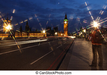 Famous and Beautiful night view to Big Ben and Houses of Parliament from Westminster Bridge, London, UK