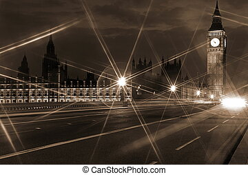 Famous and Beautiful night view to Big Ben and Houses of...