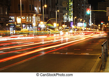 Famous and typical street of Gran Via in Madrid at night
