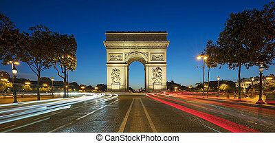 Famous Arc de Triomphe at night