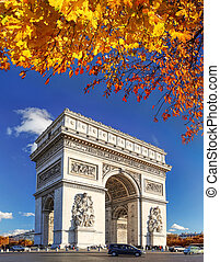 Famous Arc de Triomphe in autumn, Paris, France