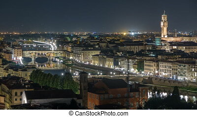 Famous Arnolfo tower of Palazzo Vecchio timelapse and Arno...