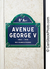 Famous Avenue George V street sign in Paris, France