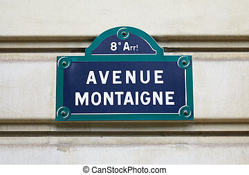 Famous Avenue Montainge street sign in Paris, France