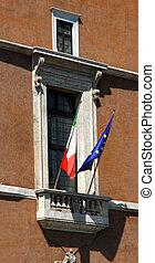 famous balcony of piazza venezia in Rome